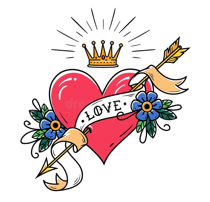 Tatuuje serce przebijającego złocistą strzała z faborkiem, kwiatami i opromienioną złocistą koroną, Stara szkoła tatuaż ilustracja wektor