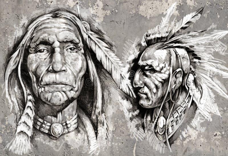 Tatuuje sztuki ilustrację, smoki nad popielatą ścianą royalty ilustracja
