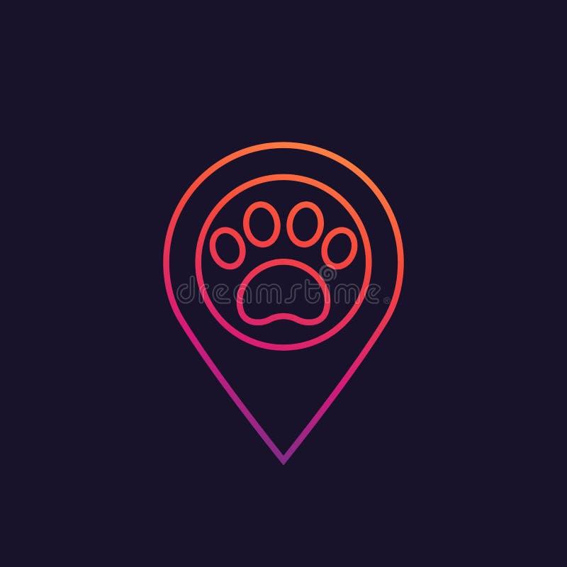 Tatze und Lageangabe, Geschäft- für Haustierezeichen vektor abbildung