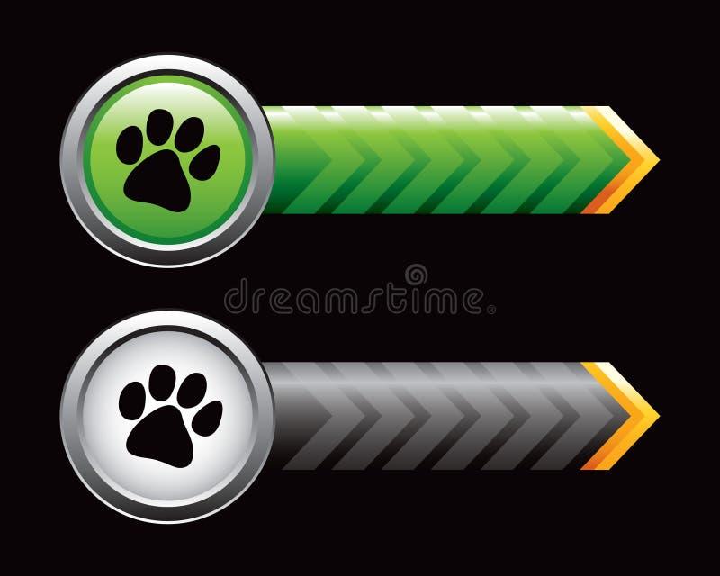 Tatzedrucke auf den grünen und schwarzen Pfeilen stock abbildung