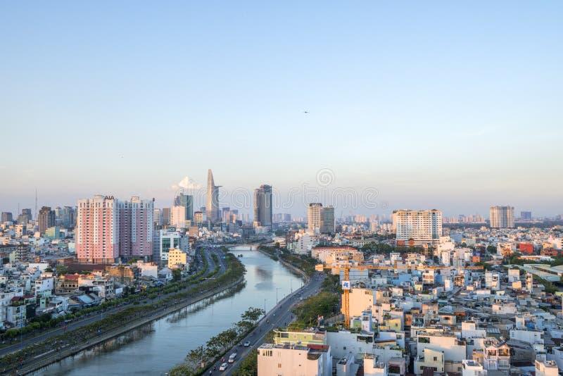 Tau Hu Canal dall'alta vista nella città di Ho Chi Minh, Vietnam immagine stock libera da diritti