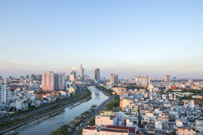 Tau Hu Canal dall'alta vista nella città di Ho Chi Minh, Vietnam fotografia stock libera da diritti