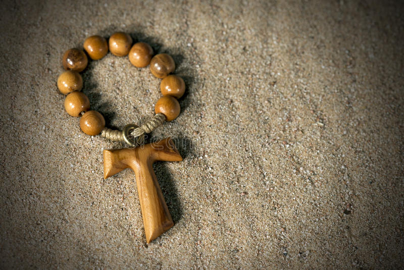 Tau Wooden Cross And Rosary Bead Stock Photo Image Of Christ