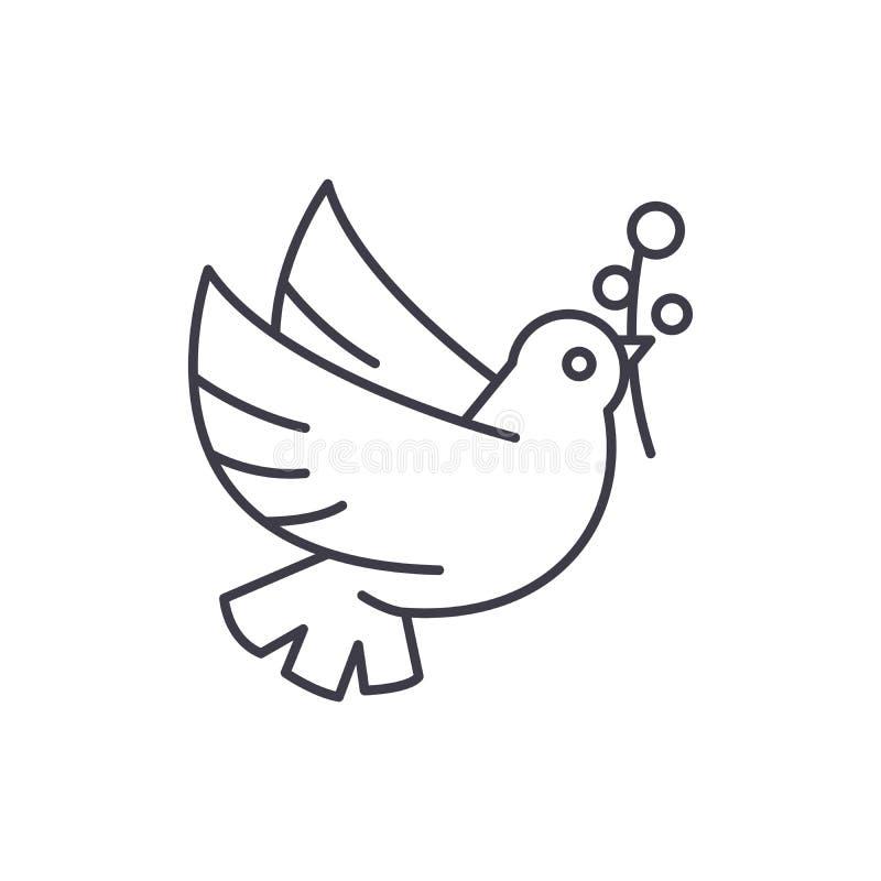 Taube der Friedenslinie Ikonenkonzept Taube der linearen Illustration des Friedensvektors, Symbol, Zeichen vektor abbildung