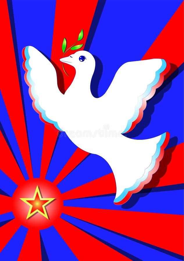 Taube des Friedens Grußkarte für Feiertag am 23. Februar stockbilder