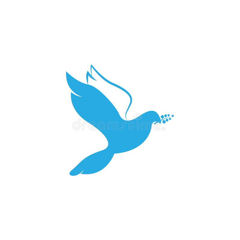 Taube des Friedens Illustration mit der Taube, die einen Ölzweig symbolisiert Frieden auf Erde hält Linie Kunsttaube Linie Kunst  vektor abbildung