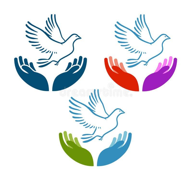 Taube des Friedensfliegens von der offenen Handikone Nächstenliebe, Ökologie, Vektorlogo der natürlichen Umwelt oder Symbol vektor abbildung