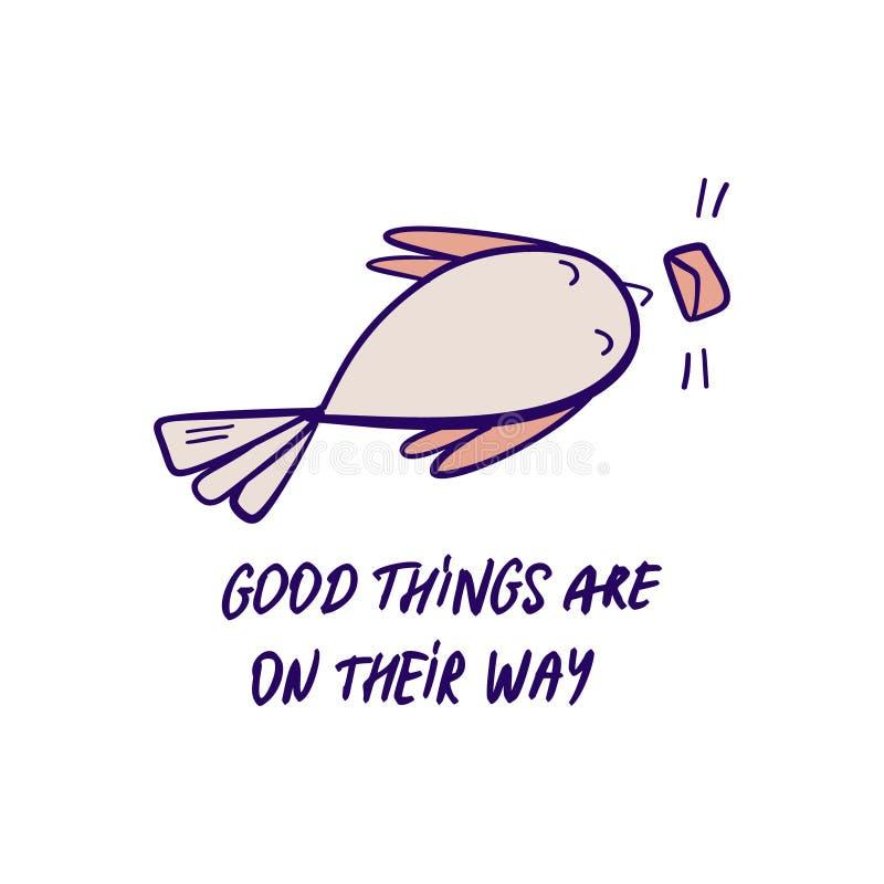 Taube holt Illustration der guten Nachrichten Von Hand gezeichnetes Vektorgekritzel mit Vogelholdingbuchstaben und positivem Moti vektor abbildung