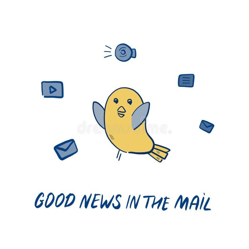 Taube holt Illustration der guten Nachrichten Von Hand gezeichnetes Vektorgekritzel mit Vogelholdingbuchstaben und positivem Moti stock abbildung
