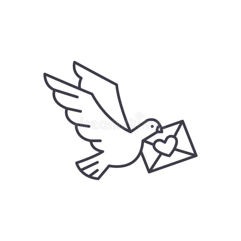 Taube mit einer Buchstabelinie Ikonenkonzept Taube mit einer linearen Illustration des Buchstabevektors, Symbol, Zeichen lizenzfreie abbildung
