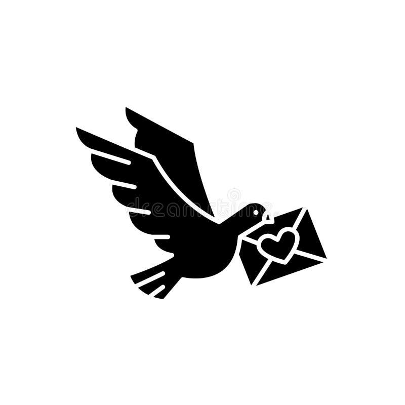 Taube mit einer Buchstabeschwarzikone, Vektorzeichen auf lokalisiertem Hintergrund Taube mit einem Buchstabekonzeptsymbol, Illust vektor abbildung