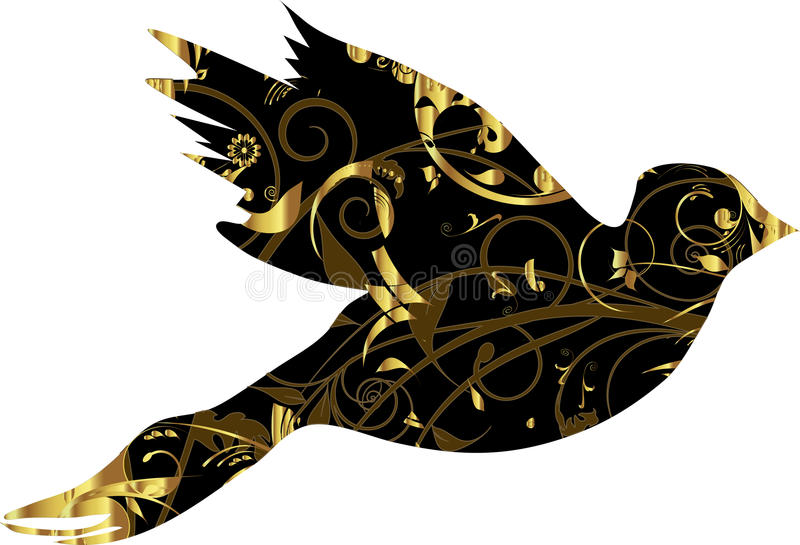 Taube mit Goldverzierung vektor abbildung