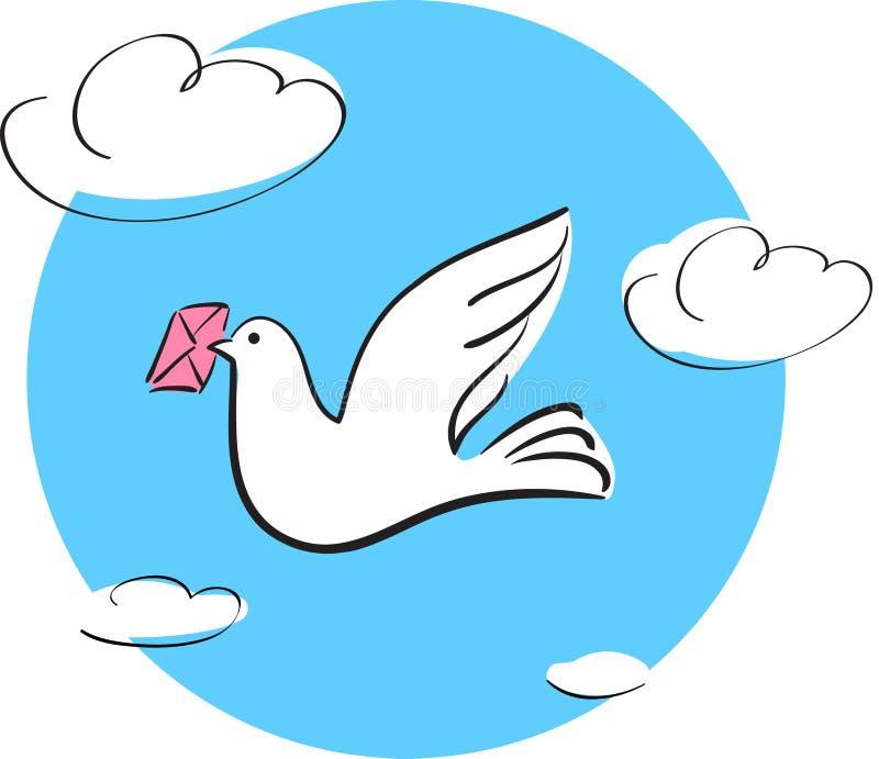 Taube mit Zeichen vektor abbildung
