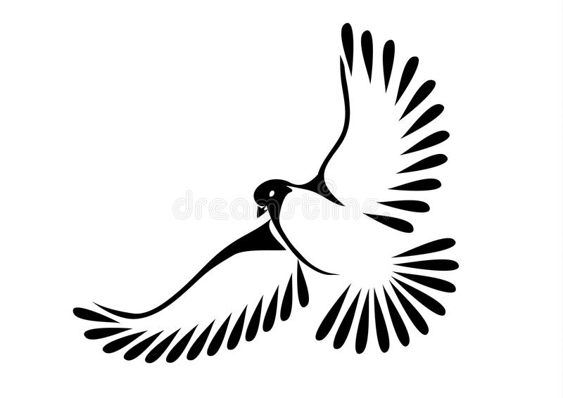Taube oder Vogel im Flug vektor abbildung
