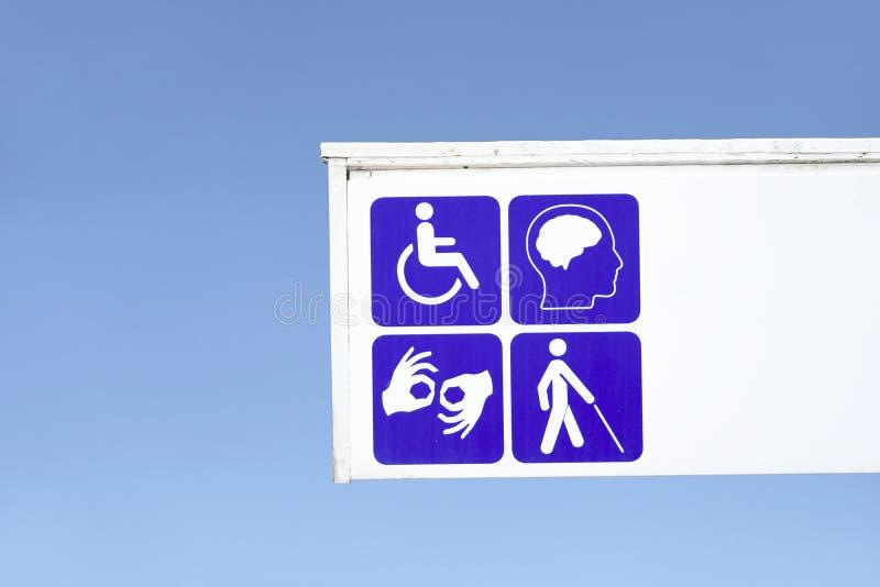 Taube stumme Vorhangbehinderte und Zeichen der psychischen Gesundheit stockfoto
