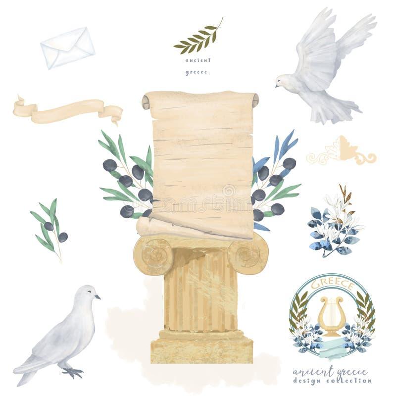 Taube und olivgrüne antike Postensatzweinlesepapierzeichnungsaquarellvogelfliegenfriedenstaube für die Feierillustration ähnlich  stock abbildung
