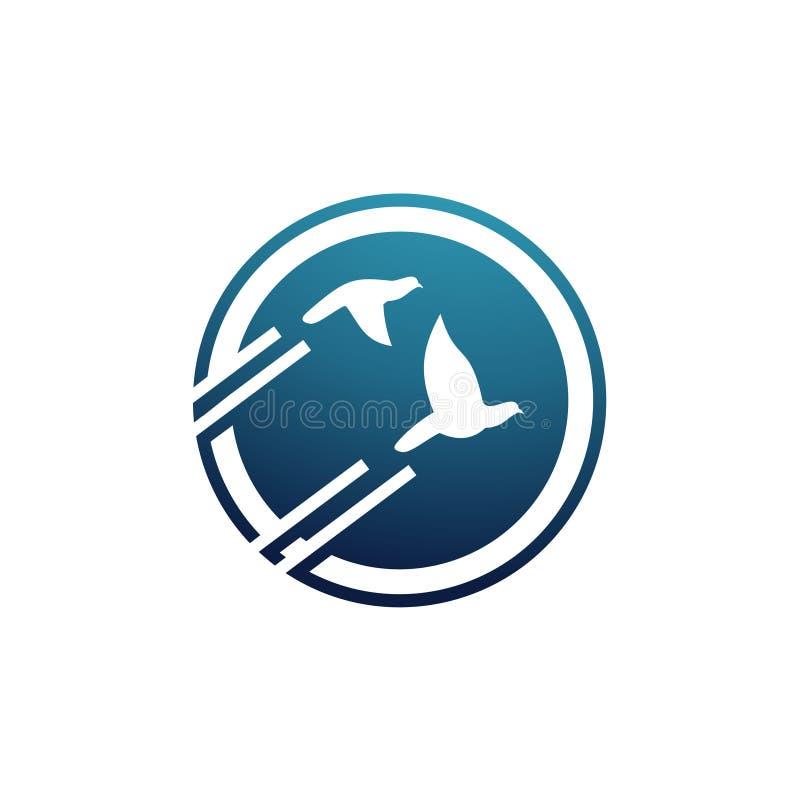 Tauben-Tauben-Fliegen im Wirtschaftskreis Logo Concept lizenzfreie abbildung