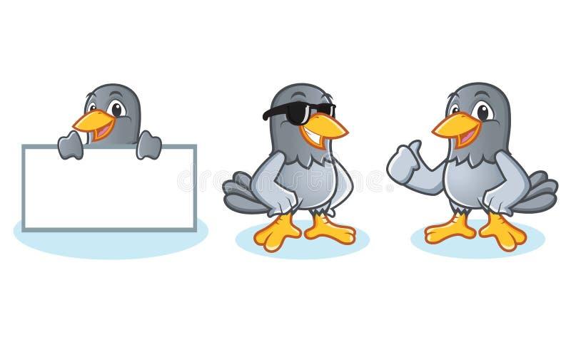 Tauben-Maskottchen-Vektor holen Brett lizenzfreie abbildung