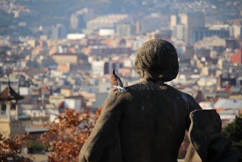 Taubenansicht von Barcelona stockfoto