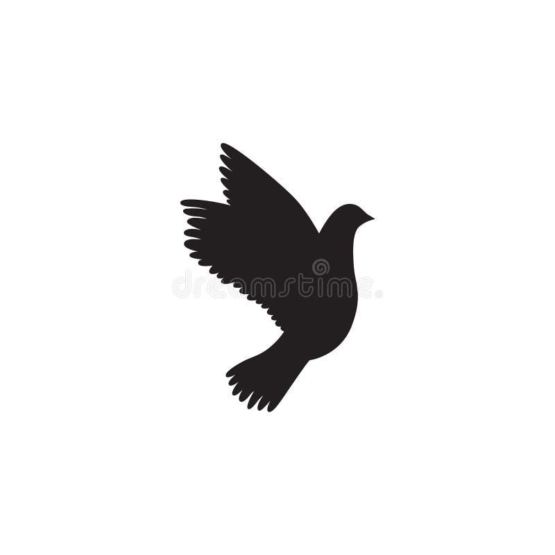 Taubenikone Taubenschattenbild Taube des Friedens stock abbildung