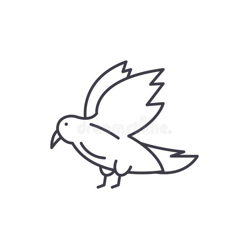 Taubenlinie Ikonenkonzept Lineare Illustration des Taubenvektors, Symbol, Zeichen lizenzfreie abbildung