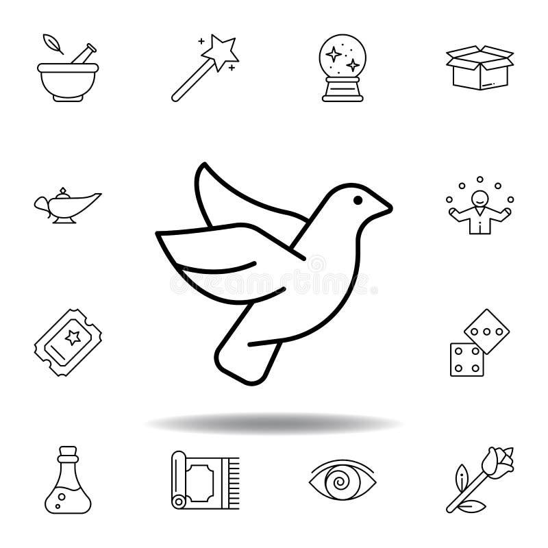 Taubenmagische Tierentwurfsikone Elemente der magischen Illustrationslinie Ikone Zeichen, Symbole können für Netz, Logo, mobiler  vektor abbildung
