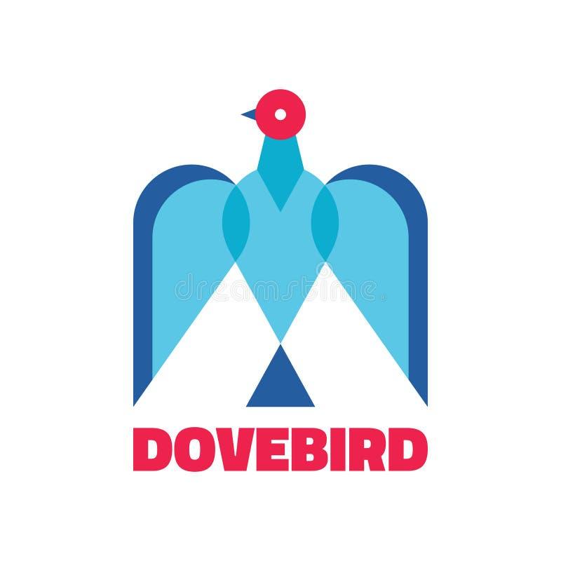 Taubenvogel - abstraktes Logozeichen Vektorlogoschablone Vogelkonzeptillustration Vektorbild, Abbildung Geometrischer Vogel lizenzfreie abbildung