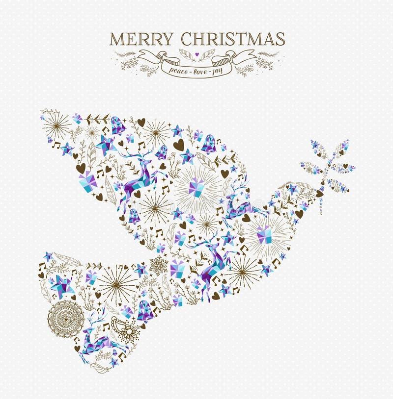 Taubenweinlese-Feiertagselement der frohen Weihnachten Friedens stock abbildung