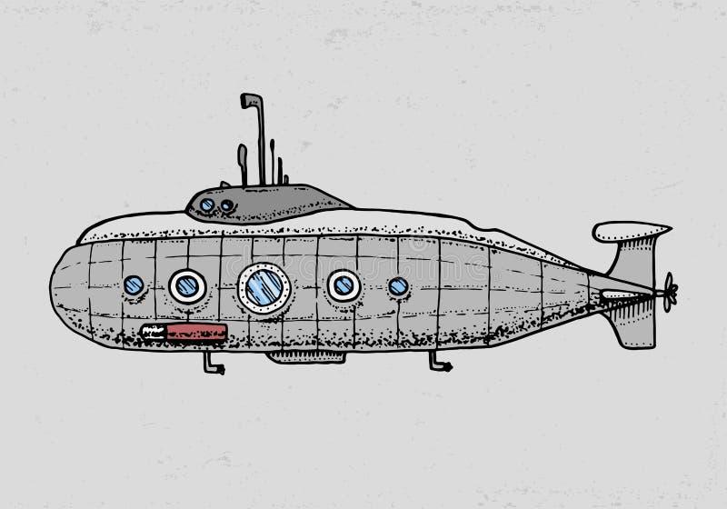 Tauchen vom Militärunterseeboot oder vom Unterwasserboot mit Periskop zum Tiefsee gravierte Hand gezeichnet in alte Skizzenart stock abbildung