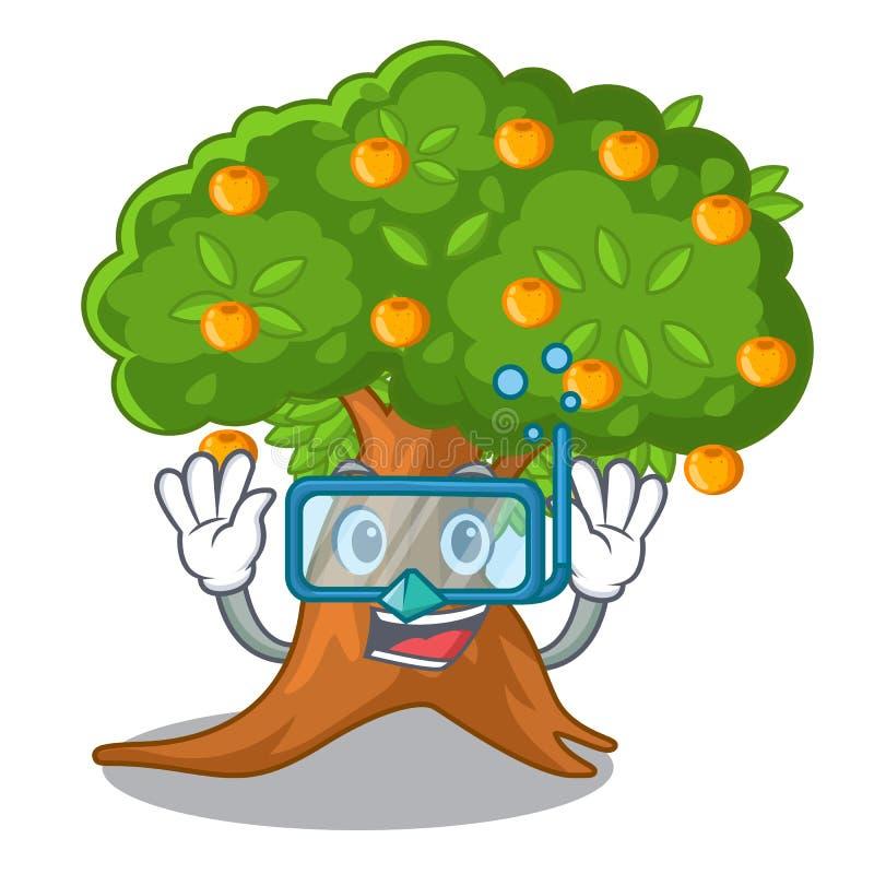 Tauchender Orangenbaum in der Zeichenform vektor abbildung