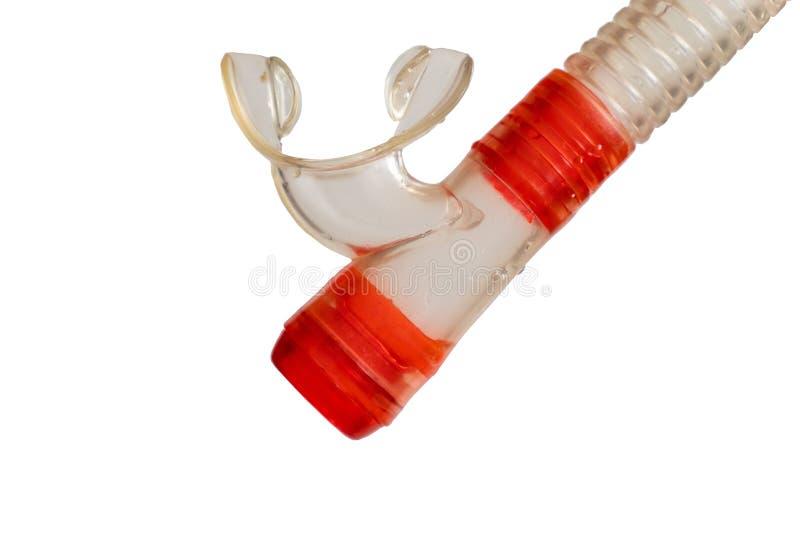 Tauchendes Rohr des roten Silikons auf weißem lokalisiertem Hintergrund stockfoto