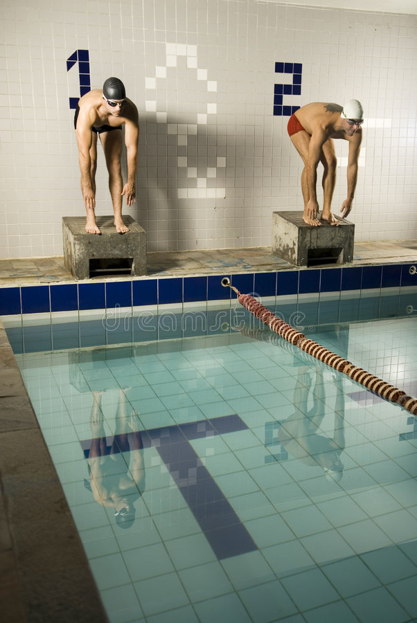 Taucher im Pool lizenzfreies stockbild