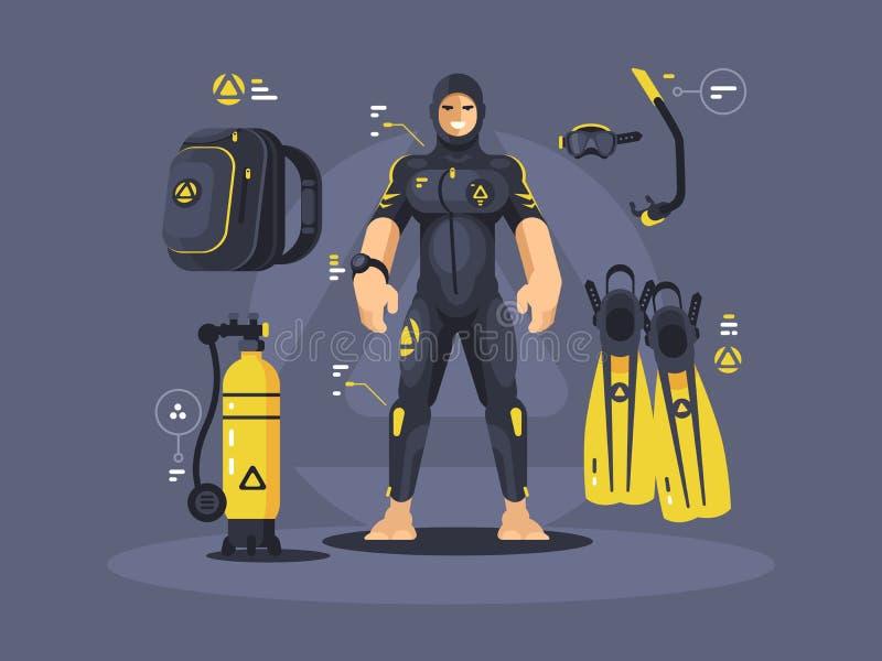 Taucher im Wetsuit und in der Tauchausrüstung lizenzfreie abbildung