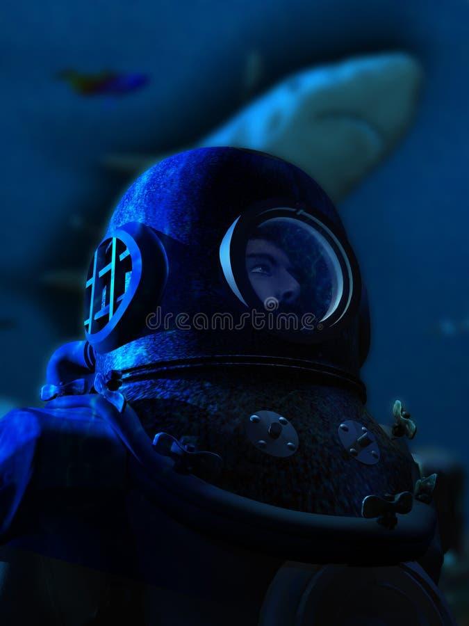 Taucher und Haifisch lizenzfreie abbildung