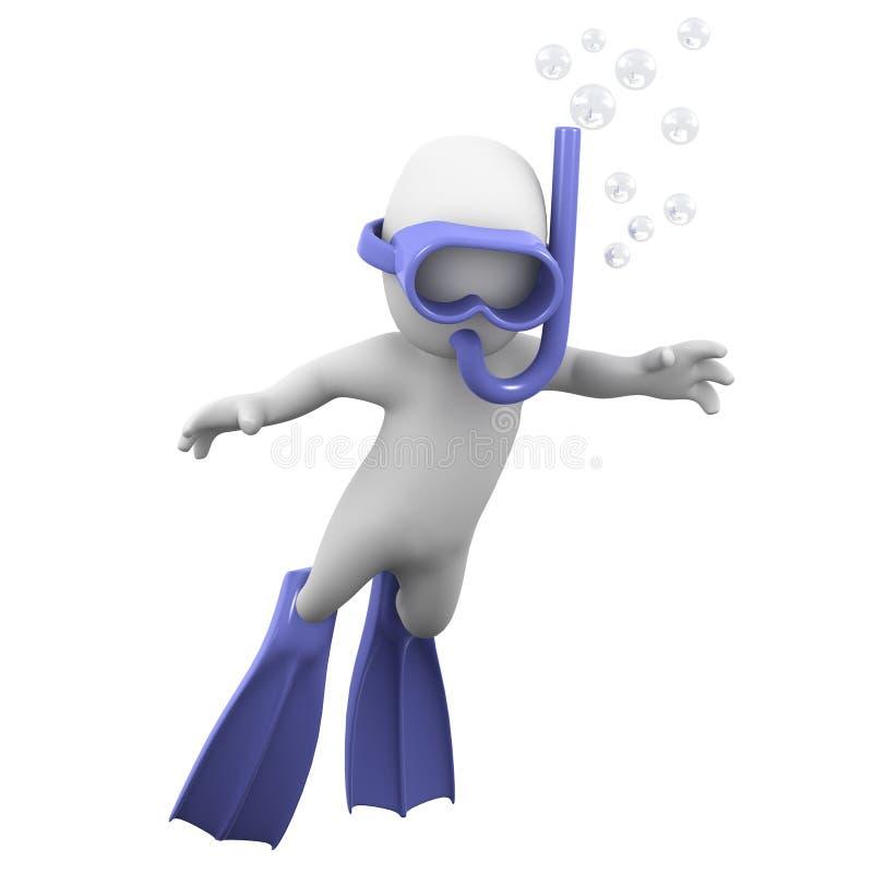 taucht kleiner Mann 3d mit einer Schnorchel stock abbildung