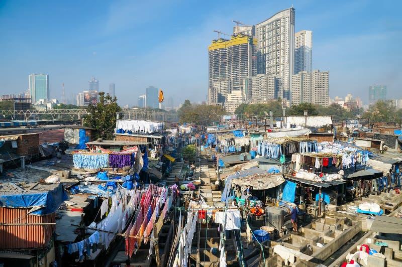 Taudis de blanchisserie de Mumbai images libres de droits