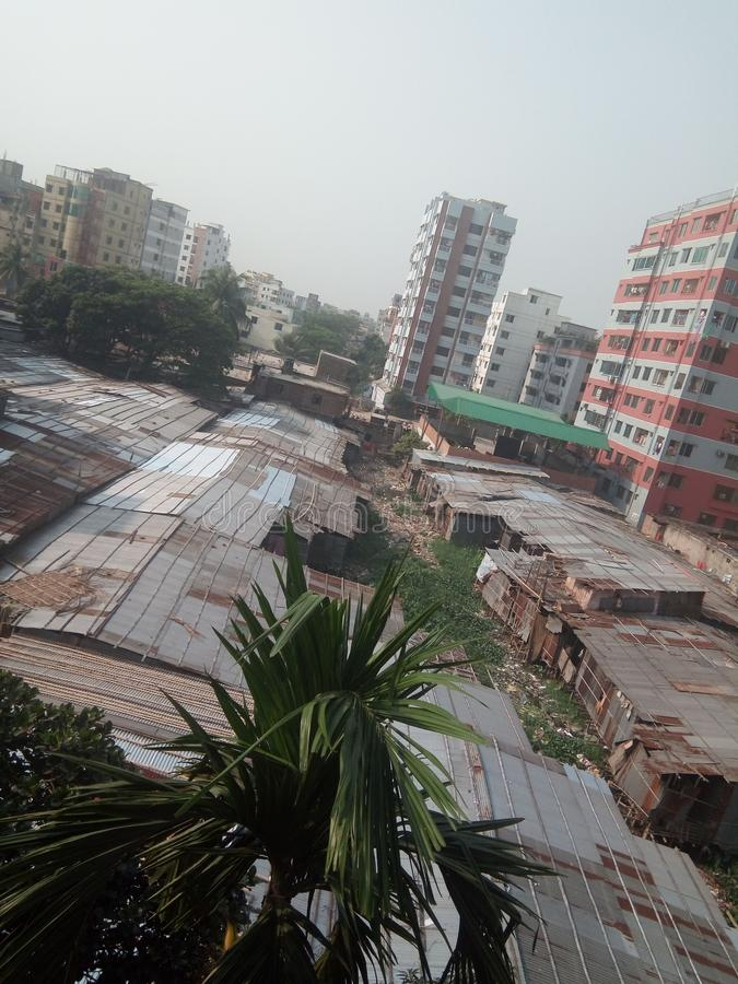 Taudis de Dhaka Bangladesh photo stock