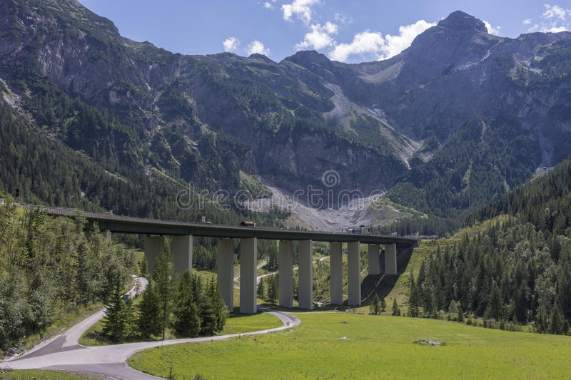 Tauern Road Tunnel is located on the Tauern Autobahn. FLACHAU, AUSTRIA - AUGUST 18, 2014: Tauern Road Tunnel is located on the Tauern Autobahn royalty free stock images