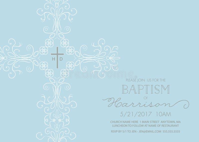 Taufe, Taufe, Kommunion oder Bestätigungs-Einladungs-Schablone lizenzfreie abbildung