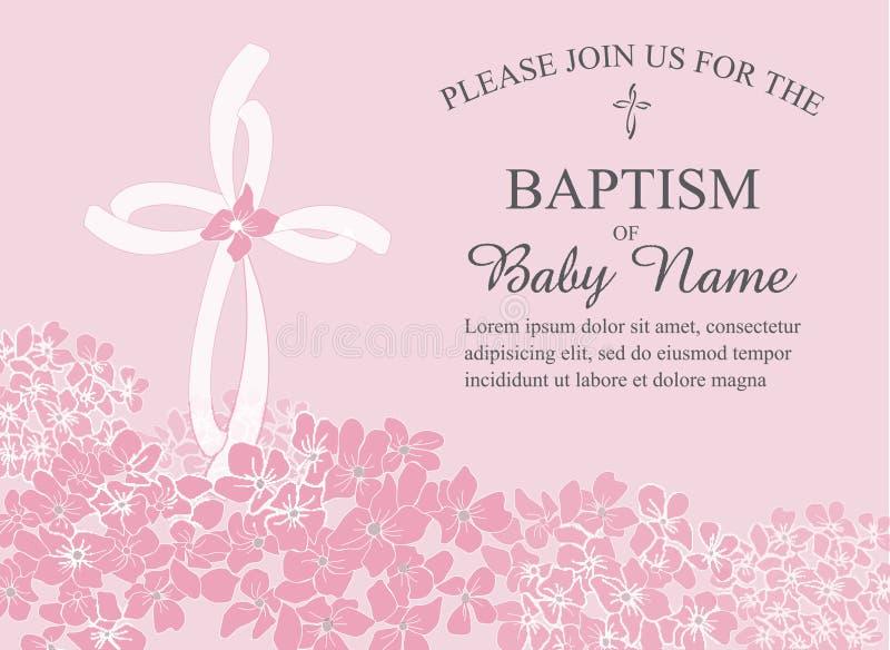 Taufe, Taufe, Kommunion oder Bestätigungs-Einladungs-Schablone mit den Quer- und Blumenakzenten vektor abbildung