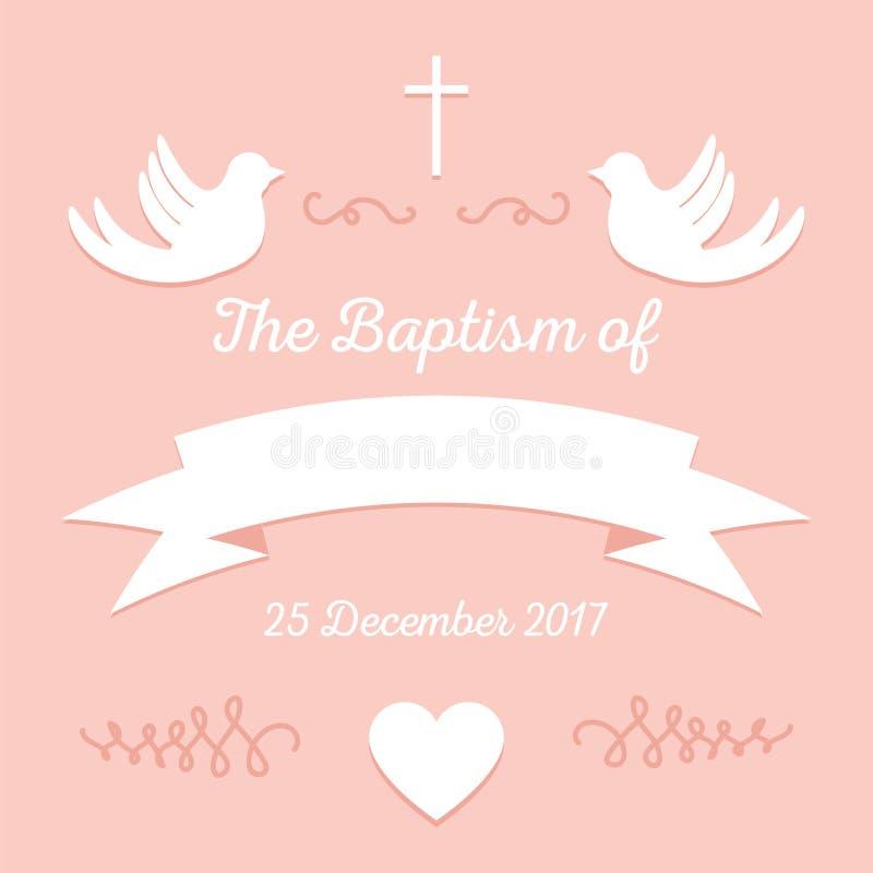 Taufeeinladungsschablone stock abbildung
