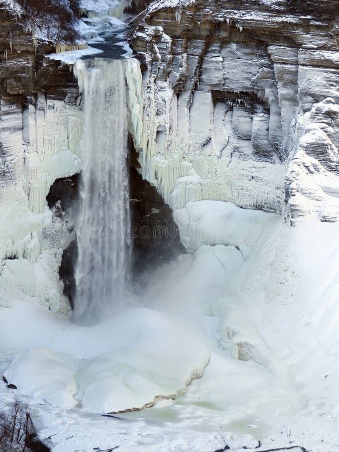 Taughannock Spada zimy siklawy scena zdjęcie royalty free