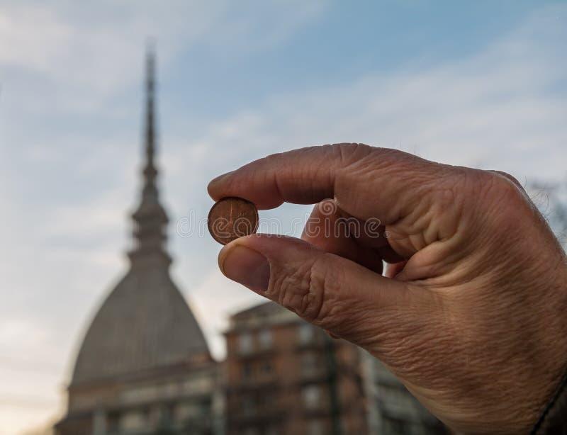 Taupe Antonelliana sur 2 cents photos libres de droits