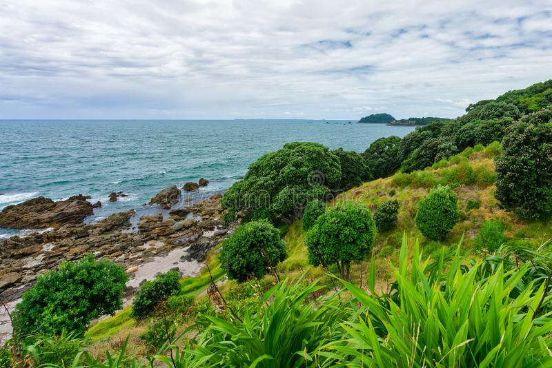 Tauranga, Nueva Zelanda - 15 de enero de 2018: Formación de roca en Moun fotos de archivo libres de regalías