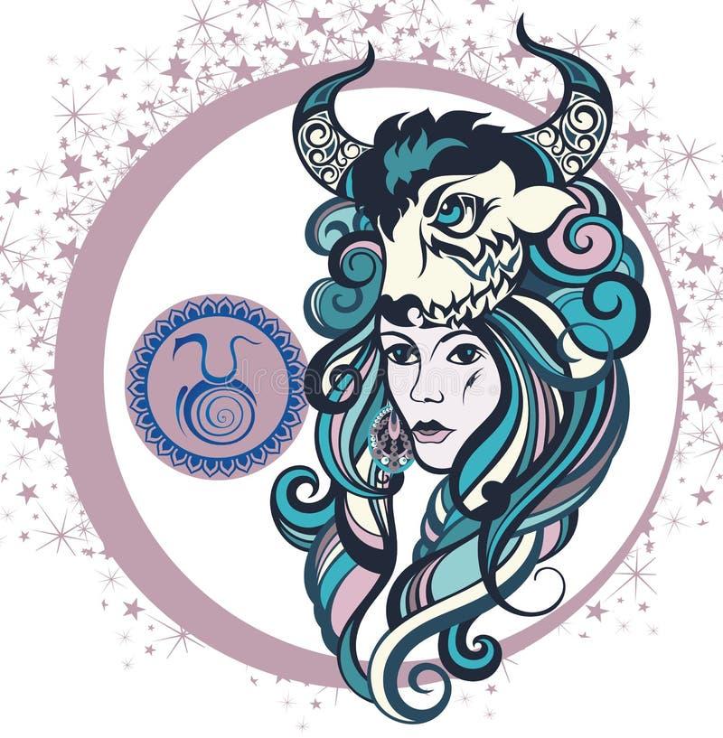 Taureau décoratif de signe de zodiaque illustration de vecteur