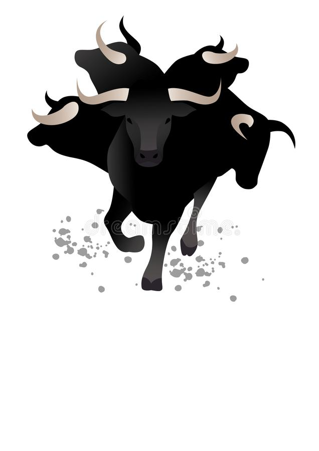 Taureau dans des t?tes d'avant et de taureau autour, d'isolement sur le fond blanc Espace vide pour le texte ou l'image illustration stock