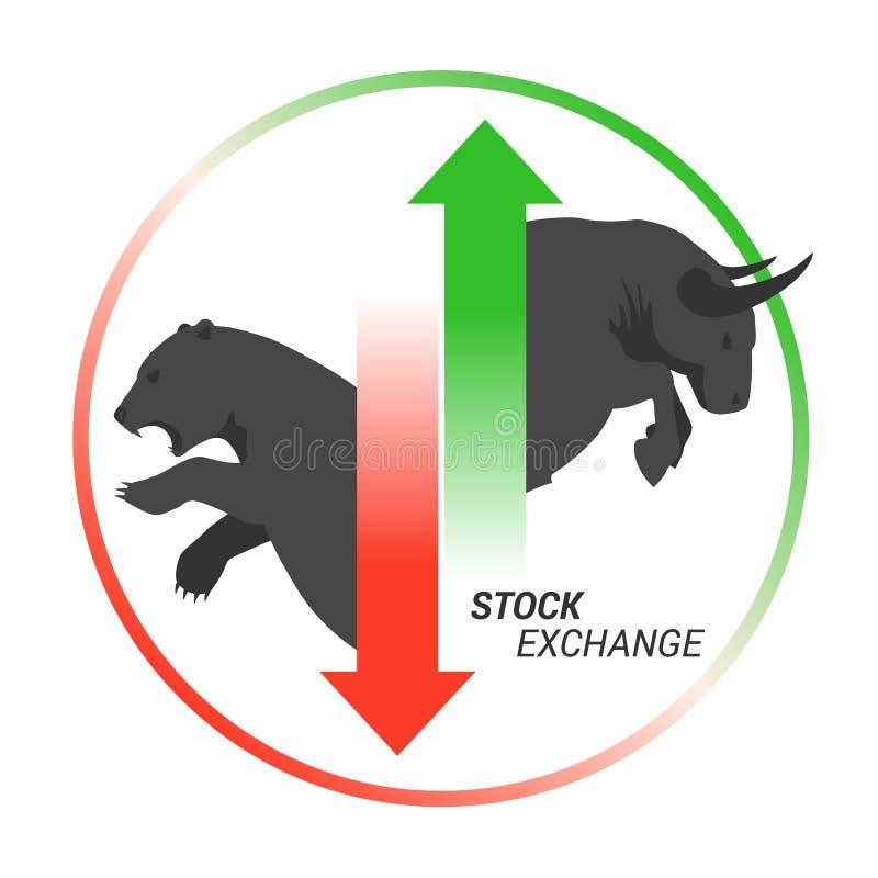 Taureau de concept de marché boursier contre l'ours avec à travers la flèche illustration stock