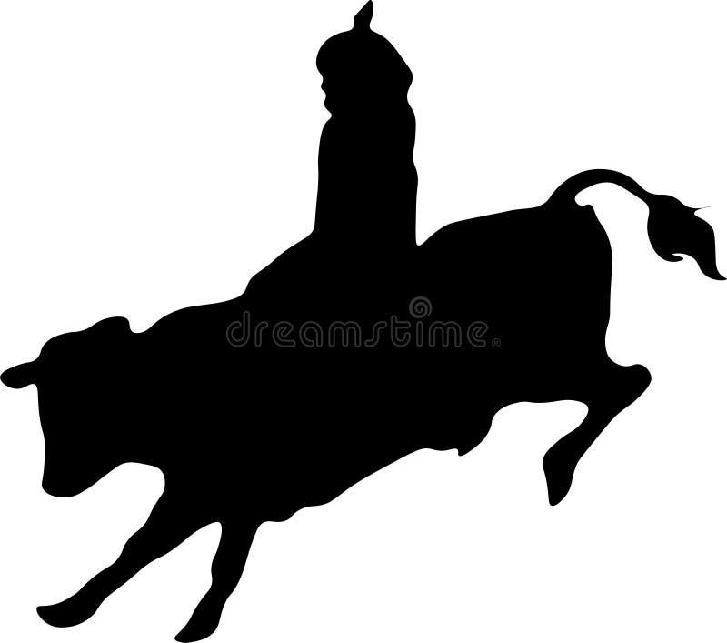 Taureau de rodéo et silhouette de cavalier illustration libre de droits