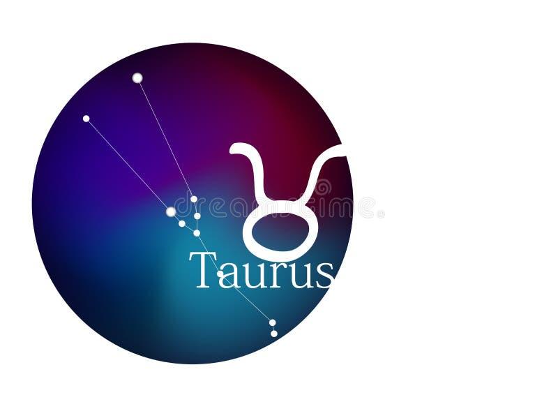 Taureau de signe de zodiaque pour l'horoscope, la constellation et le symbole dans le cadre rond illustration de vecteur