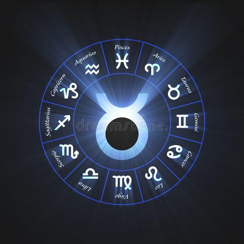 Taureau de symbole d'épanouissement d'astrologie illustration de vecteur